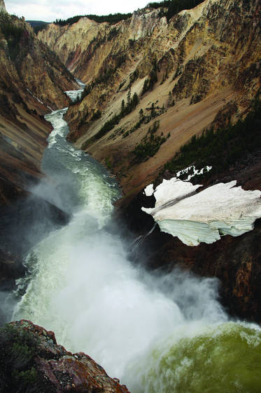 Falls with snow berg