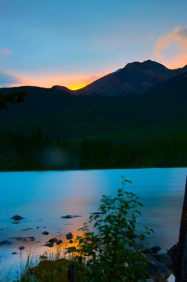 Wilderness lake at sunrise