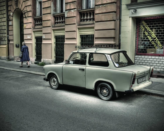 Woman and trabant