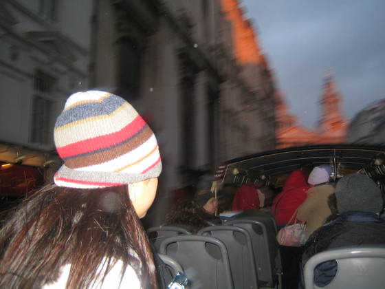 Girl in striped hat on seeing st  paul s catherdral