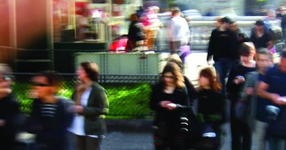 Blurred street people