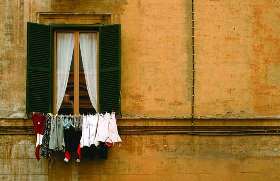 Boy in window   laundry