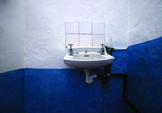Sink   blue wall