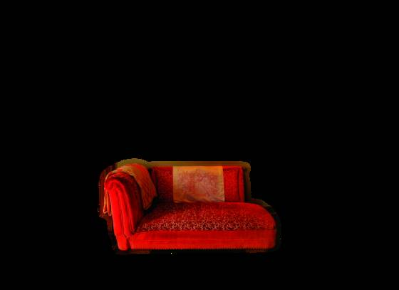 George s red sofa