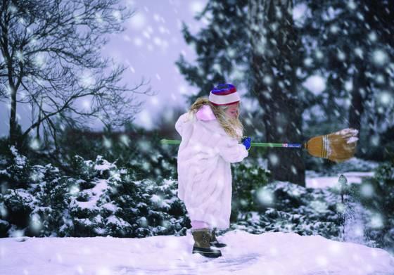 Girl in snowstorm