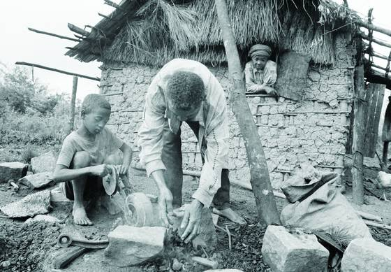 Preparing to make gravel by hand