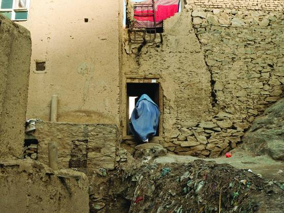 Afghan women in doorway