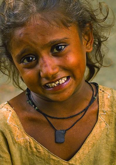 Gypsy girl begging