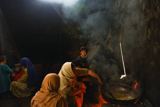 Woman  making halwa