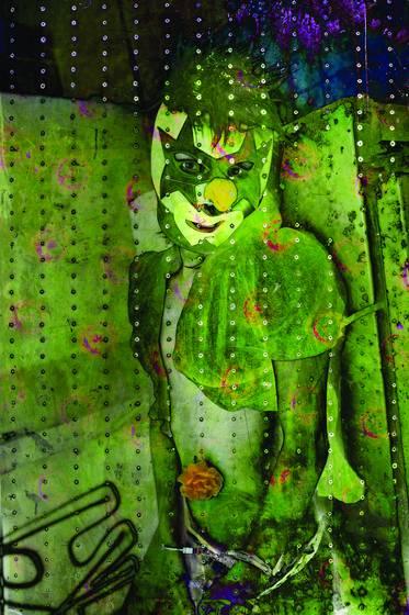Green clown mask