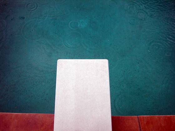 Diving board in the rain