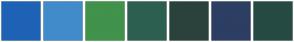 Color Scheme with #1E62B6 #428BCA #41924B #2D5F51 #2B423C #2D3E63 #264B42