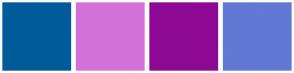 Color Scheme with #005B9A #D471D9 #8D0994 #6178D4