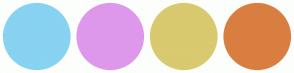 Color Scheme with #88D2F2 #DE98EB #D9C96F #D97E41
