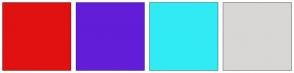 Color Scheme with #E11111 #621DD8 #31EBF4 #D9D6D6