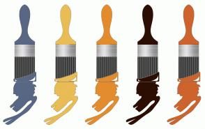 Color Scheme with #586784 #E9BC55 #E38C2D #2C0E03 #CD642D