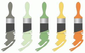 Color Scheme with #828277 #D4E8C1 #8DB87C #F5D769 #ED8A3F