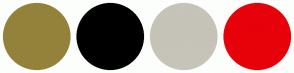 Color Scheme with #94823B #000000 #C6C3B8 #E7010A