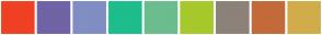 Color Scheme with #EF4122 #7163A6 #808EC4 #1EBD8D #6BBD8D #A6C92C #8C8279 #C36B3A #D2AC4A