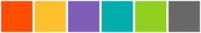 Color Scheme with #FF4E00 #FFC02E #7F5EBA #01ADAB #91D020 #696969