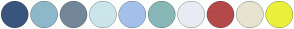 Color Scheme with #3A557D #8EB8CA #74879A #CBE5EB #A3C1EA #88B7B7 #E8ECF2 #B44949 #E6E3D0 #EAF03B