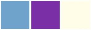 Color Scheme with #6FA3CC #7B2FA7 #FFFDE7