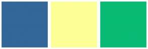 Color Scheme with #336699 #FDFF96 #08BB74
