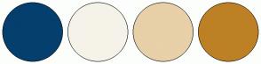 Color Scheme with #053F6E #F5F3E9 #E8D0A9 #BD8025