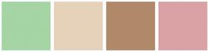 Color Scheme with #A5D4A5 #E6D2BA #B0896A #DBA2A5