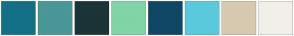 Color Scheme with #147087 #499797 #1B3438 #81D4A6 #104765 #5AC9DC #D6C9B0 #F2EFE9