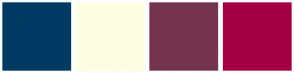 Color Scheme with #003A62 #FDFDE1 #74344E #A30046
