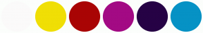 Color Scheme with #FBFAFA #F0DF05 #A90404 #A30A84 #260245 #0692C5