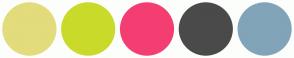 Color Scheme with #E2DC7C #CADA2A #F43E71 #4A4A4A #81A4B9