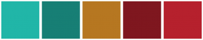 Color Scheme with #21B6A8 #177F75 #B67721 #7F171F #B6212D