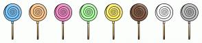 Color Scheme with #80CBFF #FFCB8E #F58FC8 #B5FFAA #FFF071 #86604A #FFFFFF #C1C1C1