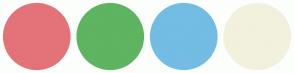 Color Scheme with #E37379 #5EB460 #73BCE3 #F2F1DD