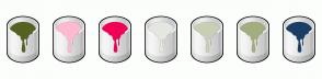 Color Scheme with #546223 #FFBAD2 #F20056 #E5E7E1 #C8CFB4 #A3AE7E #1A3E65