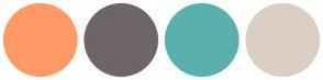 Color Scheme with #FF9966 #6E6567 #5AB0AC #DBCFC5