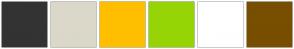 Color Scheme with #333333 #DBD8CA #FFBF00 #96D406 #FFFFFF #784E00
