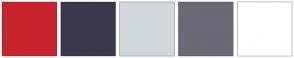Color Scheme with #C8242D #3A384D #D0D8DB #6C6876 #FFFFFF