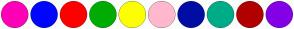 Color Scheme with #FF00B6 #0005FF #FF0000 #00AC03 #FCFF00 #FFB8CD #000DA4 #00AC88 #B10000 #8400E6