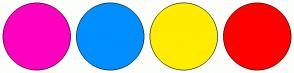 Color Scheme with #FF00BF #008FFF #FFEC00 #FF0000