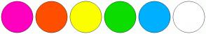 Color Scheme with #FF00BF #FF4F00 #FBFF00 #0DDD00 #00B0FF #FFFFFF