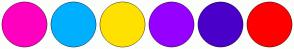 Color Scheme with #FF00BF #00B0FF #FFE100 #9600FF #4A00C9 #FF0000