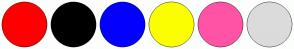 Color Scheme with #FF0000 #000000 #0400FF #FBFF00 #FF53A6 #DBDBDB