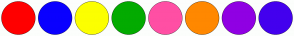 Color Scheme with #FF0000 #0A00FF #FCFF00 #03AB00 #FF4FA4 #FF8800 #9000E3 #4300EE