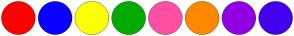 Color Scheme with #FF0000 #0A00FF #FCFF00 #03AB00 #FF4FA4 #FF8800 #9000E3 #4300EE