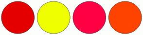 Color Scheme with #E50000 #F0FF00 #FF0044 #FF4300
