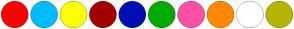 Color Scheme with #FF0000 #00BBFF #FCFF00 #A20000 #000EB3 #03AB00 #FF4FA4 #FF8800 #FFFFFF #B4B600