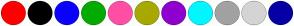 Color Scheme with #FF0000 #000000 #0A00FF #03AB00 #FF4FA4 #A7A900 #8F00CF #00F7FF #A2A2A2 #D4D4D4 #0600A4